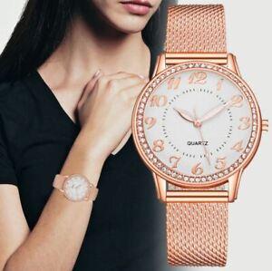 Women's/Girls Diamond-Set, Large White Dial, Rose Gold Mesh Strap, Dress Watch