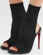 Christian Louboutin CHEMINENE 120 Maille Sock Heel Sandal Shoes Boot Black $1045