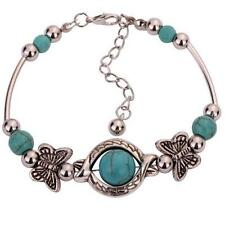New Pop Tibetan Silver Blue Turquoise Bead Inlay Butterfly Adjustable Braacelet