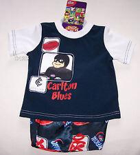 Carlton Blues AFL Boys Navy Blue White Cotton / Satin Pyjama Set Size 1 New