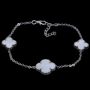 """NATURAL WHITE MOTHER OF PEARL & CZ 925 STERLING SILVER BRACELET 8"""""""