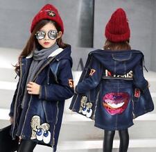 Girls Winter Denim Embroidery Coat Sequins Jacket Warm Padded Hooded Overcoat Winter Styles 140cm