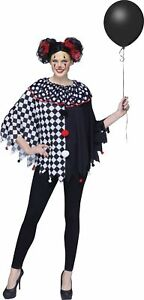 Black White Clown Poncho Adult Womens Costume Accessory NEW One Size FW