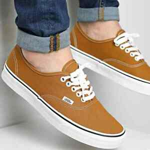Vans New Authentic Golden Brown True White Men Size 11 Skate Shoes New in Box