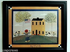 FOLK ART PICTURE PRIMITIVE SALTBOX HOUSE AUTUMN IN THE COUNTRY FRAMED PRINT11X14
