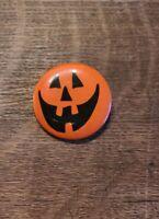 Vintage HALLMARK Halloween JACK-O-LANTERN Lapel Button Pin Happy Face