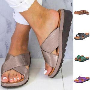 Womens Slip On Sandals Slides Sliders Wedge Heel Ladies Summer Platform Shoes