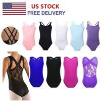 US Girls Cross Strap/Lace Back Ballet Dance Camisole Leotard Gymnastics Tank Top