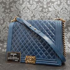 Rise-on CHANEL Boy Coating Leather Blue Chain Cross Body Bag Shoulder bag #2236