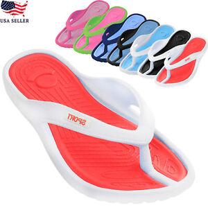 New Women's Soft EVA Rubber Flat Sport Bath Beach Indoor Outdoor FlipFlop Sandal
