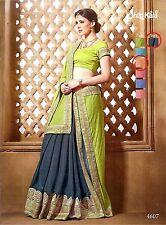NEUES indisches Sari - Gamini Saree - Orange/Schwarz - SSV-SALE% -50%