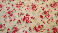 Ivory/Cream &  Rose Flower Shabby Chic 100% Cotton Floral  Fabric By Half metre