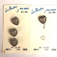 """LE BOUTON ANT SILVER ROUND SHANK 5/8"""" 4 BUTTONS VINTAGE NOS MADE IN ITALY"""