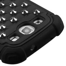 For Samsung Galaxy S III S3 HYBRID IMPACT Silver Studs Case Phone Cover Black