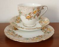 ROYAL GRAFTON CHINA Chintz Floral Hand Painted  CUP SAUCER PLATE Trio TEA SET