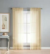 "Taupe Gold Sheila Rod Pocket Window Panel 63"" Length Net Curtain 54"" Width X 1"