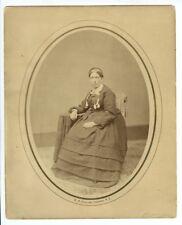 1860s Albumen Print Portrait Mrs. Parker by E.M. Collins, Oswego, NY, Civil War