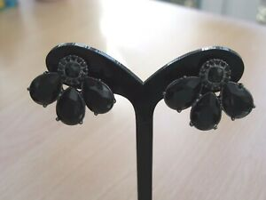 Rosetta Large Black Crystal Fan Earrings Brand New in Original Packaging and Bag