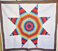 AWESOME VINTAGE DAZZLING  STAR QUILT RICH VIBRANT COLORS