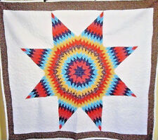 AWESOME VINTAGE DAZZLING  STAR QUILT RICH COLORS