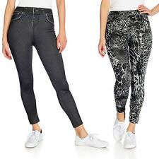 NEW SLIM 'N LIFT CARESSE SET OF TWO JEAN-PRINTED KNIT PULL-ON LEGGINGS SZ XXL
