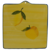 Hartstone Blue and Yellow Fruit Tile Trivet Hot Pad Apple Lemon Farmhouse Green