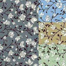 Cotton Poplin Fabric Material - Floral Magnolia - 427
