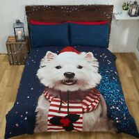 Rapport Westie Dog Christmas Xmas Winter Duvet Cover Bedding Set Multi
