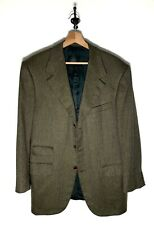 Bijan by St. Andrews 100% Cashmere Green Brown 3 Button Sport Coat Dual Vents