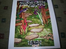 Down the Garden Path Terra Stained Glass Pattern Book Koi Pond Garden Bench NEW