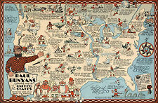 1935 Pictorial Humorous Paul Bunyan's Map United States Wall Art Poster Decor
