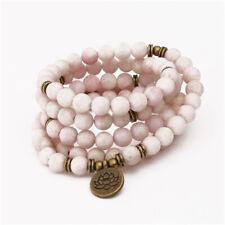 6mm White Pink Jade Bracelet Yoga Lotus 108 Beads Healing Bless Meditation Reiki
