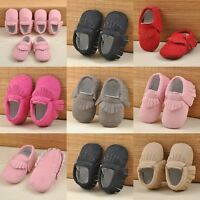 Baby Toddler Boy Girls Tassel Soft Sole Suede/Leather Grib Shoes Infant Moccasin