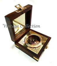 Antique Nautical Brass Magnetic Compass in Wooden Box Vintage Collectables Decor