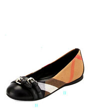 BURBERRY GIRLS AVONWICK CHECK PRINT FLAT SHOES SIZE 9.5 / EU 27 BLACK