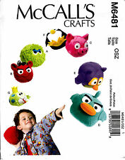 McCalls Sewing Pattern Angry Birds Round Stuffed Animal Pig Frog OOP Uncut 6481