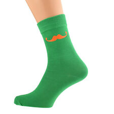 Green Socks With Orange Moustache Size 5-12 X6N006