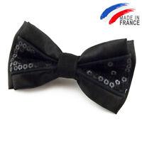 Made in France NOEUD PAPILLON noir pailleté pour homme ou femme - Bowtie sequins
