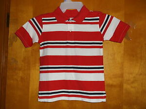 NEW BOY'S FADED GLORY RED ROVER HORIZONAL STRIPES S/S  2 BUTTON POLO SHIRT #11