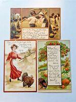 3 Vintage HBG HB Griggs Thanksgiving Postcards People Harvest Turkeys Pumpkins