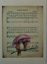 Impression Image Affiche déco (15x21 )Style Vintage Oiseaux Shabby Scrapbooking