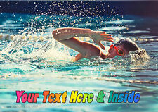 PERSONALISED BOY SWIMMER SWIMMING WATER SPORT BIRTHDAY ANY OCCASION CARD Insert