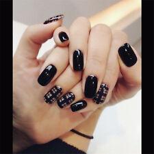 24pcs Art Acrylic Black Fake False Nail Fake False Nails French Artificial Nail