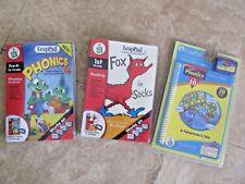 Lot, 3 Leap Pad cartridges, NEW Phonics, Fox in Socks
