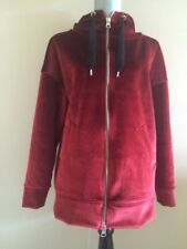 IVY PARK VELVET OVERSIZED RED ZIP UP HOODIE, SIZE SMALL