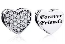 🇬🇧💜💜925 STERLING SILVER FRIENDSHIP FOREVER FRIENDS HEART CHARM & POUCH