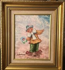 """Vintage Framed Oil on Canvas""""Painter Clown""""By William Moninet (1937-1999) 8""""X10"""""""