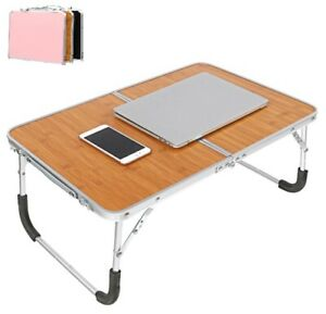 Study Table Desk Foldable with Handle Durable Stainless Steel Wood Home Office