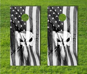 American Flag Cornhole Game Punisher USA Skull Wrap Distressed Board Bag Decal