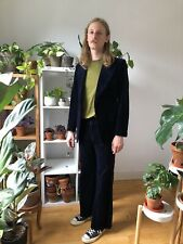 Vintage Austin Reed 70s Velvet 2 Pc Suit Midnight Chest 36/38r Flares W 29/32